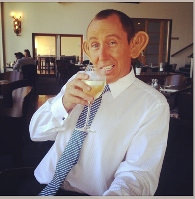 Tony Abbott having a well earned drink after the Ukelele festival Katoomba!